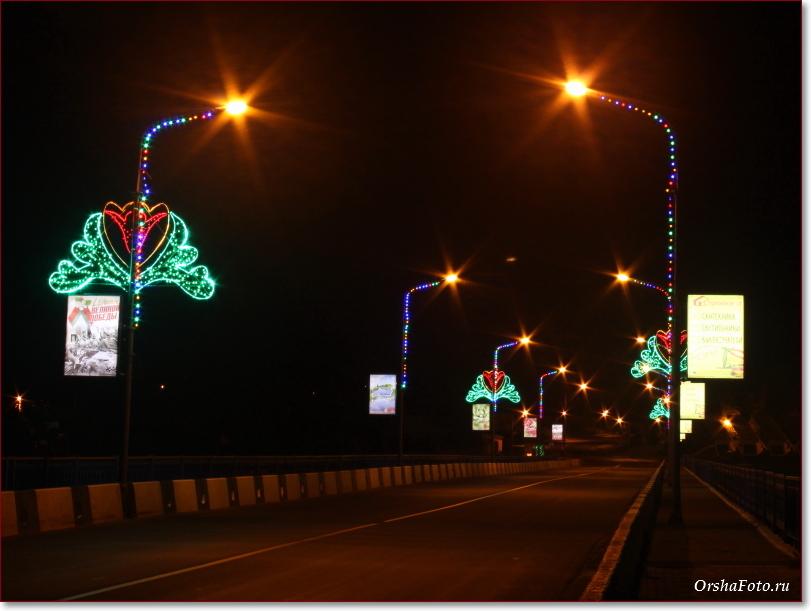 Фото Орши – мост через Днепр ночью