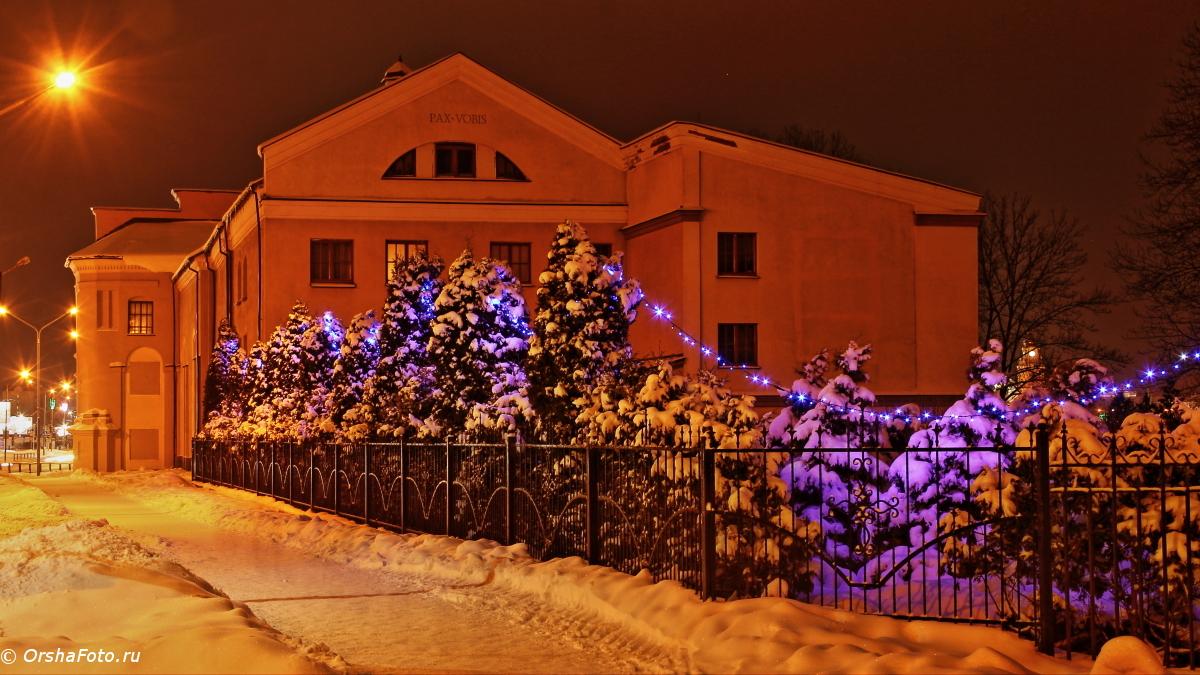 Орша — Католический костел зимней ночью